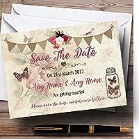 素朴なParisianスタイルヴィンテージPersonalized結婚を保存日付カード 10 Invitations