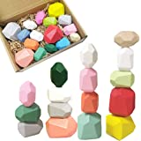 Balancing Wooden Stacking Blocks Toys, Educational Colorful Rainbow Wooden Stones Toy, Wood Stacking Game Building Block Toys