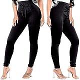 Leezeshaw Womens Plain Lace up Stretchy Viscose Lycra Leggings Seamless Full Length Basic Jeggings
