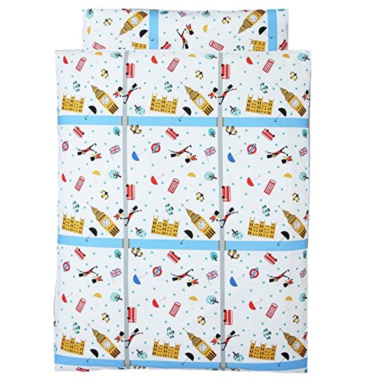 お昼寝 洗える布団 5点セット《ロンドン》【日本製】 (園児用 洗える敷布団, ワインバッグ)