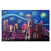 エリア絨毯からDiaNoche by Markus Bleichner–Starry Night Seattle Large 4 x 6 Ft AR-MarkusBleichnerStarryNightSeattle2
