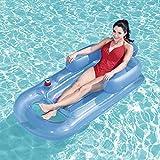 膨脹可能なプールのアクアラウンジャーはヘッドレスト、ビーチプールマット、157 * 89 Cmで浮かびます (Color : Blue)