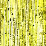Kuulee メタリックフリンジカーテンパーティー 誕生日、イベント用 Foilフリンジカーテン カーテン パーティーフリンジ背景 スパンコール結婚式の背景幕 結婚式のパーティー 装飾 多色 多サイズ 1m*1mゴールド