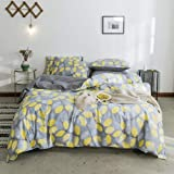 Autumn Branches Duvet Cover Queen Yellow Floral and Leaves Bedding Set Grey Gray Modern Home Bedroom Set Botanical Bed Quilt