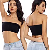 WOWENY Padded Bandeau Bra for Women Strapless Underwear Bralette Basic Layer Seamless Tube Top 2 Pack