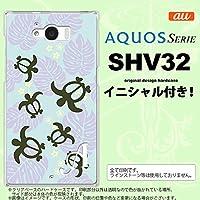 SHV32 スマホケース AQUOS SERIE カバー アクオス セリエ イニシャル ホヌ・小 青 nk-shv32-1468ini N