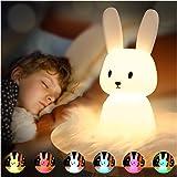 Cute Bunny Night Light for Kids Room, Portable Silicone Animal Toddler Night Lights Kawaii Room Decor Squishy Nursery Lamp ,C