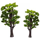 WINOMO 12pcs Model Trees Train Railways Architecture Landscape Scenery Scale 1:50 (Green)