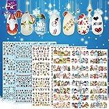 KADS クリスマスネイルシール4枚セット ネイル用水転写シール クリスマスツリー サンタクロース 可愛い雪だるま ネイルデザイン用品セット4個 (セット1)
