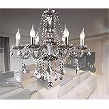 Junhong Lighting Chandeliers LED 3 Brightness Smoke Grey Crystal Candle Chandelier Ceiling Lights Fixture Lamp Pendant Lights
