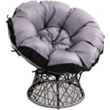 Gardeon Swivel Papasan Chair Indoor Outdoor Furniture Lounge-Grey