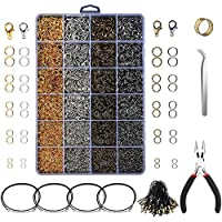 SNOWINSPRING 3143Pcs Jewelry Findings Jewelry Making Starter Kit with Open Jump Rings Lobster Clasps, Jewelry Pliers Black Waxed Necklace Cord for Jewelry Making Supplies and Necklace Repair