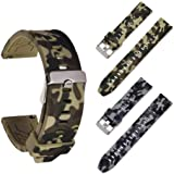 [2-Pack] Watch Bands 20mm 22mm Quick Release Soft Silicone Universal Strap Camouflage Waterproof Wrist Belt for Men and Women