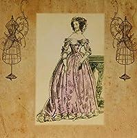 3dRose LLC 8 x 8 x 0.25 Inches Mouse Pad, Print of Vintage Paris Evening Attire (mp_183480_1) [並行輸入品]