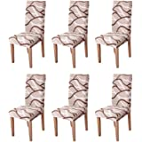Eage Dining Chair Covers 6 Pack, Super Fit Stretch Removable Washable Spandex Fabric Protector Cover Seat Slipcover for Hotel