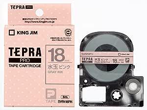 キングジム テープカートリッジ テプラPRO 18mm SWM18PH 水玉ピンク グレー文字