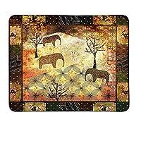アフリカの模様付きマウスパッドパッチワークインスパイアされたパターングランジヴィンテージ注目の象の木のバラ印刷カスタム化マウスパッド多色