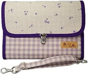ラブリーリリー(Lovely Lily) 手作り母子手帳ケース L ジャバラタイプ 2人分収納可能 小花柄 パープル JB9001LPL
