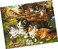 Wowdecor DIY 数字油絵40×50cm - かわいい猫の家族 - ぬりえ 塗り絵 絵画 趣味 インテリア (フレームレス)