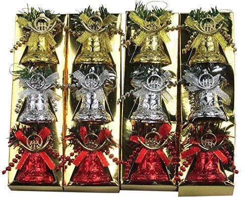 R-STYLE カラフルに装飾 クリスマス ツリー 飾り ベル オーナメント 12個 セット (ベル中)