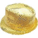 DFギャラリー 帽子 ハット ダンス小物 ステージ衣装 スパンコール 中折れ CB45261 ゴールド 頭囲54cm