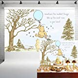Classic Winnie The Pooh Baby Shower Backdrop for Boys Blue Balloon Pooh and Friends Birthday Banner for Cake Table Party Deco