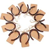 OurWarm 10pcs Good Lucky Horseshoe Gift with Kraft Tags for Rustic Wedding Favours Decoration, Hanging Barn Wedding Horseshoe
