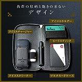 Riorune アイコス ケース iQos 2.4Plus対応 ラウンドファスナータイプ 防水 シガレットケース 予備ホルダー収納 付き(ブラック)