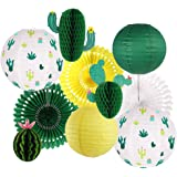 Cactus Party Decorations, Hawaiian Party Supplies Tropical Cactus Hanging Paper Lanterns Cactus Honeycomb Tissue Paper Fans f