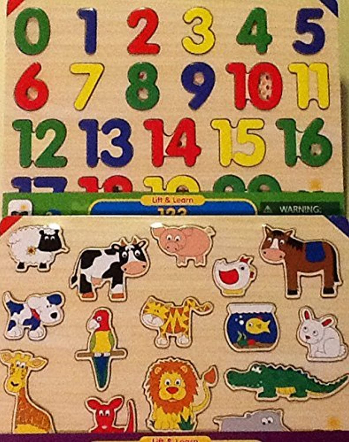 Lift & Learn ~ Animals & 123 ~ 2 Pack Set in Carry All ~ Board Puzzles