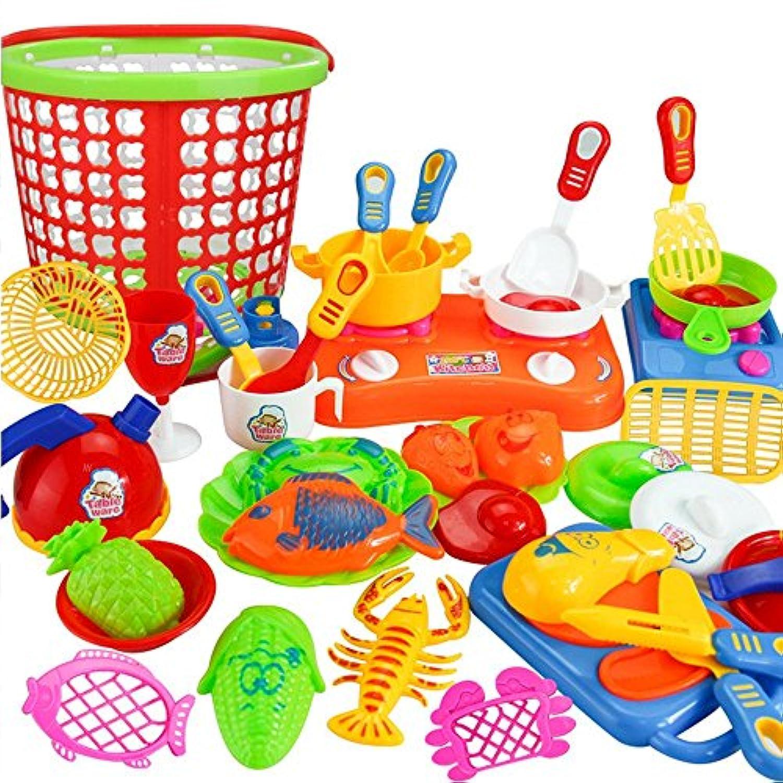 教育玩具、baomabao 35pcsプラスチックキッズ子供キッチンキッチン用品食品料理Pretend PlayセットToy