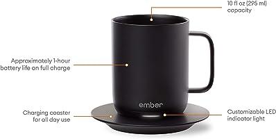 Ember Temperature Ceramic Mug, Black