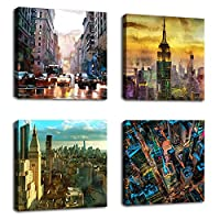 (City) - Canvas Prints Modern City Scene Framed Wall Art Decor - 30cm x 30cm 4 Pieces Canvas Art Contemporary Painting Picture for Living Room Bedroom Home Decoration