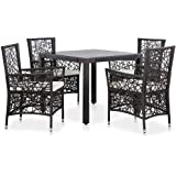 vidaXL 5 Pieces Outdoor Dining Set with Cushion Poly Rattan Weather Resistant Steel Frame 1 Table 4 Chairs Lounge Set Patio F