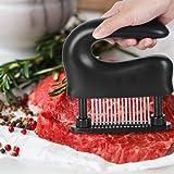 ミートテンダライザー 肉たたき 48刃 ステンレス製 肉筋切り器 キッチン用品 お肉が柔らかくなる調味料が染み込み料理用 (ブラック)
