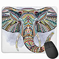 Cheng xiao Mouse Pad Artistic Elephant Colorful Illustration Rectangle Rubber Mousepad Non-toxic Print Gaming Mouse Pad with Black Lock Edge,9.8 * 11.8 in,ベーシック マウスパッド ゲーム用 標準サイズ
