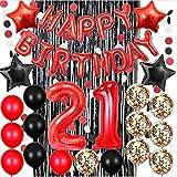 21歳の誕生日デコレーション 赤 ハッピーバースデー バナーバルーン 数字バルーン ペーパーガーランド 黒と赤のバルーン 紙吹雪バルーン 誕生日パーティーバルーン サプライ