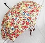 ステッキとしてご使用になれるステッキ傘(つえかさ)油絵調花柄 手開き 晴雨兼用 黄赤柄