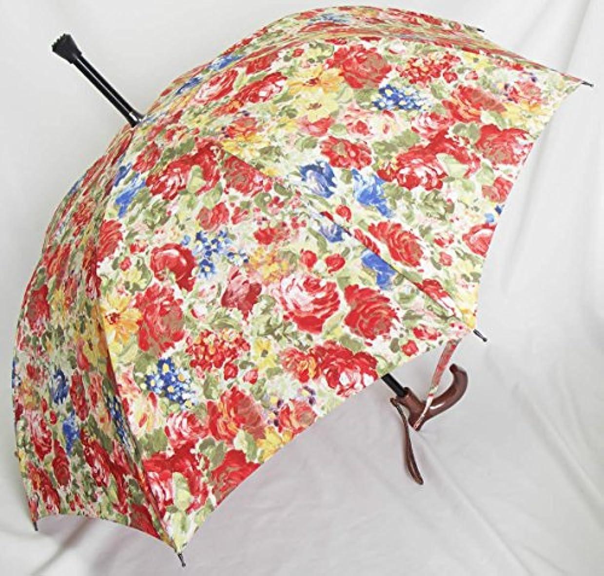 研究所ベアリング茎ステッキとしてご使用になれるステッキ傘(つえかさ)油絵調花柄 手開き 晴雨兼用 黄赤柄
