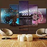 5 Piece Canvas Wall Art Film Claper Vintage Paintings for Living Room HD Prints Movie Reel and Camera Picture Smoke Effect Ar