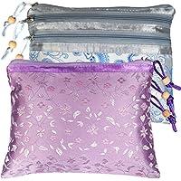 kilofly Chinese Silk Brocade 3 Zipper Pockets Jewelry Pouch Bag, Set of 2