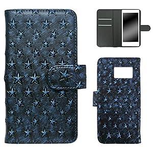 whitenuts Galaxy S7 edge ケース 手帳型 星模様 ブルー スマホケース 手帳 WN-OD126088_L