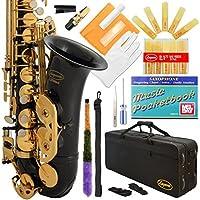 Lazarro Professional Black-Gold Keys Eb E Flat Alto Saxophone Sax 11 Reeds Case & Many Extras - 24 COLORS Available - 360-BK [並行輸入品]