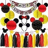 パーティー 飾り付け セット ミッキーマウス 可愛い レッド ブラック イエロー ハニカムボール バナー ペーパータッセル ヘアバンド ミニー 誕生日 25枚セット