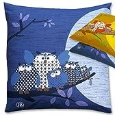 メーカー直販 幸福を呼ぶ 座布団カバー ふくろう柄 ファスナー式 綿100% 日本製 銘仙判 55×59cm 紺