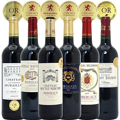 シニアソムリエ厳選 全て金賞受賞名産地フランスボルドー 辛口赤ワイン6本セット((W0G618SE))(750mlx6本ワインセット)
