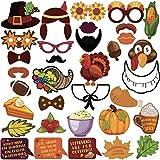 KatchOn 感謝祭 写真ブース小道具 34 DIYキット 感謝祭 デコレーション ハッピーサンクスギビング パーティーのお土産 パンプキン 七面鳥 パン コーン フルーツ カエデの葉 秋のパーティー用