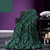 "smallbeefly Palm Leaf Throw Blanket Green Leaves of coconut palms水彩スタイルFresh Natureパターン暖かいマイクロファイバーすべてシーズン毛布ベッドやソファFern Green Pale Green 50""x30"" fly01-maotan0424-110001C130xK80"