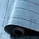 yazi-アンティーク調 木目 DIY ウォールステッカー リフォームシート 貼付シール 壁紙 防水 厚手 ライトブルー 60cmx300cm