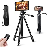 Phone Tripod, UBeesize 50'' Extendable Lightweight Aluminum Tripod Stand with Universal Cell Phone/Tablet Holder, Remote Shut